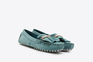 A8-99 Mint Ruffle Trim Diamente Loafers