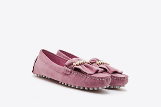 A8-99 Plum Ruffle Trim Diamente Loafers