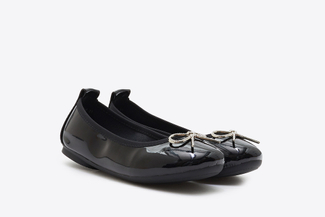BB1603-6 Kids Black Crystal Bow Patent Leather Flats
