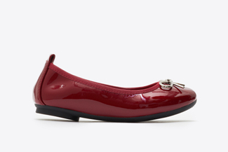 BB1603-6 Kids Maroon Crystal Bow Patent Leather Flats