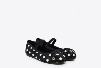 BB1620-1718 Kids Black Polka Dot Flats