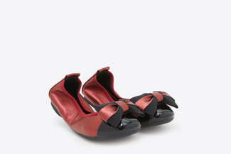 BB3869-2 Kids Deep Red Vintage Foldable Ballet Flats