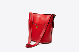 6601 Red Leather Twist Lock Clasp Buckle Bag