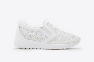 8226-13 White Floral Mesh Sneakers