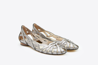 JS51-6 Pewter Metallic Weaved Flats