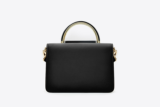 3723 Black Dual Toned Boxy Handbag