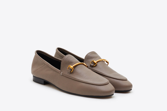 6936-38 Khaki Metal Buckle Loafers