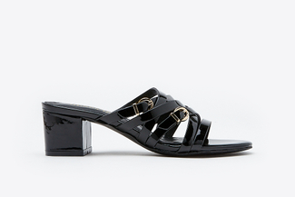 9628-12 Black Intertwined Strap Mules