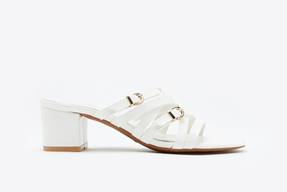 9628-12 White Intertwined Strap Mules