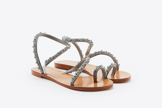 YD336-27 Grey Crystallic Sandals