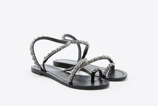YD336-27 Black Crystallic Sandals
