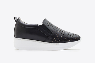 8613-6 Black Laser Cutout Sneakers