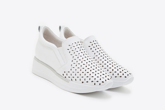 8613-6 White Laser Cutout Sneakers