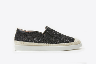 817-5 Black Glittery Espadrille Loafers