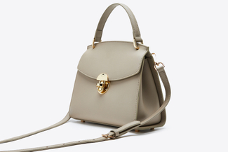 SB-D017 Khaki Leather Top Handle Bag