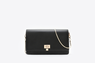 SB-D055 Black Structured Boxy Handbag
