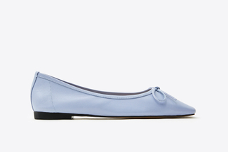 0535-206A Blue Two-Way Ribbon Square Apron Toe Flats