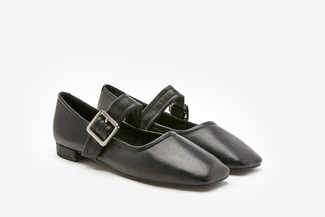 6647-201A Black Square Toe Mary Jane Pumps