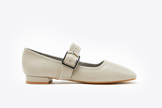 6647-201A Grey Square Toe Mary Jane Pumps