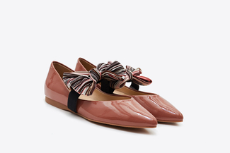 815-2 Deep Pink Vintage Bow Pointy Flats