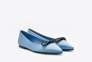 8540-3 Blue Dainty Bow Pointy Satin Flats