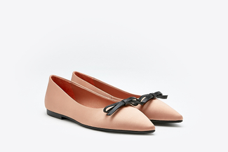 8540-3 Almond Dainty Bow Pointy Satin Flats