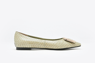 8728-31 Mint Snake Skin Effect Leather Buckle Flats