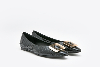 8728-31 Black Snake Skin Leather Buckle Flats