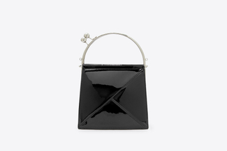 8891 Black Metallic Handle Tote