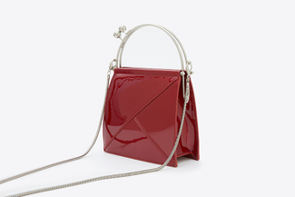 8891 Maroon Metallic Handle Tote