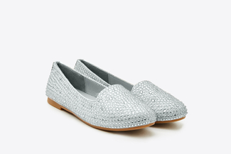 BB1620-023 Kids Silver Crystal Embellishment Loafers
