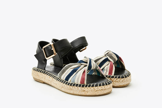 1582-10 Black Stripy Bow Espadrilles