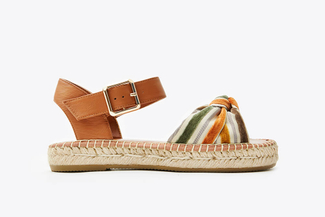 1582-10 Brown Stripy Bow Espadrilles