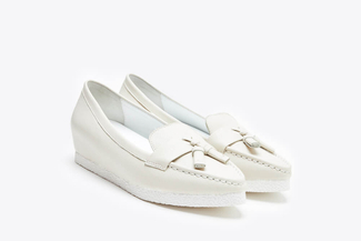 1668-20 Beige Pointy Toe Tassel Leather Platform Loafers