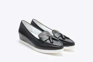 1668-20 Black Pointy Toe Tassel Leather Platform Loafers