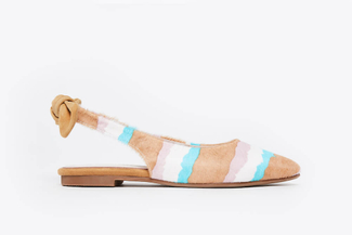 1800-28 Almond Multi-Coloured Slingback Flats