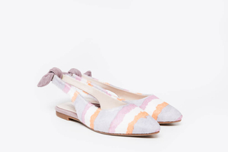 1800-28 Purple Multi-Coloured Slingback Flats