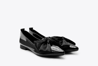 2663-1 Black Oversized Bow Ballet Flats