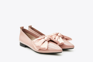 2663-1 Pink Oversized Bow Ballet Flats