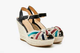 3907-1 Black Stripy Espadrille Wedges
