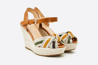 3907-1 Brown Stripy Espadrille Wedges