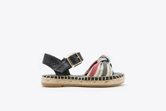 BB1582-10 Black Kids Stripy Bow Espadrilles