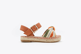 BB1582-10 Brown Kids Stripy Bow Espadrilles