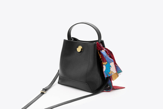 SB-D056 Black Vintage Scarf Satchel Bag
