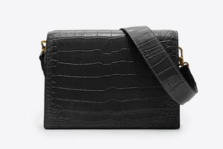 S1176 Black Textured Leather Crossbody Bag