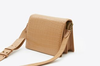 S1176 Almond Textured Leather Crossbody Bag