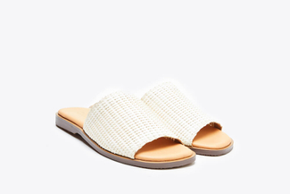 062-10 Beige Wrap Over Slide Sandals