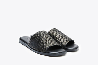 062-10 Black Wrap Over Slide Sandals