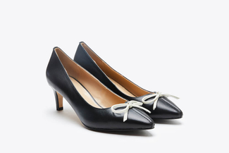 088-11 Black Classic Bow Pointed Heels