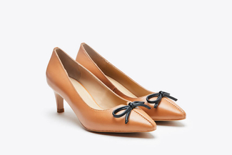 088-11 Brown Classic Bow Pointed Heels